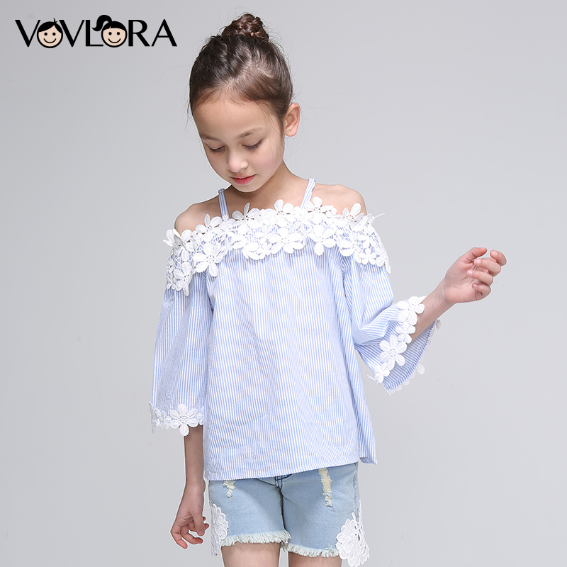 все цены на Girls Lace Blouses Shoulder Tops Patchwork Kids Striped Blouse Three Quarter Sleeve Slash Neck Fashion size 7 8 9 10 11 12 Years