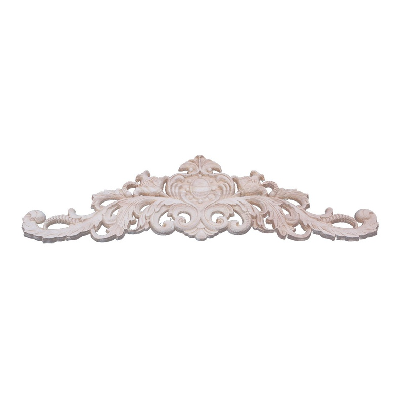40x12cm Exquisite Classic Rubber wood Carved Applique Furniture Natural Decal Wood color