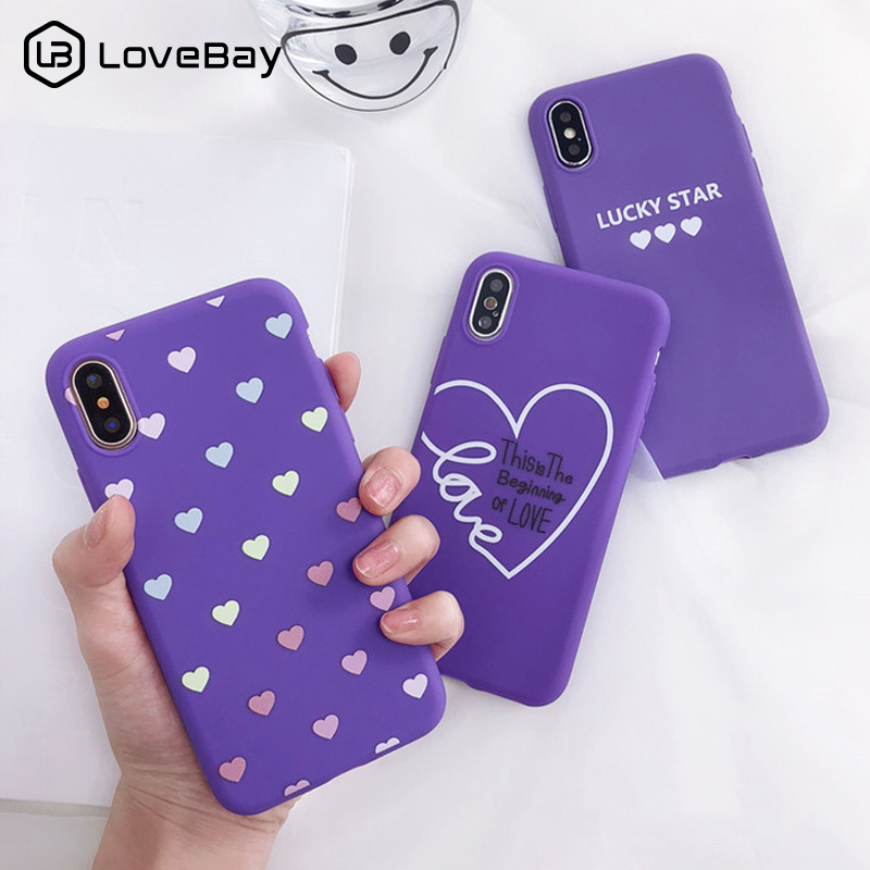 Lovebay Purple Phone Case For Iphone XS Max XR X 7 6 6S 8 Plus Love Heart Shape Lucky Pattern Printed Soft Back Cover Shells