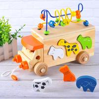 Animal Trailer Toy Around Beads Learning Game Multicolour Kids Wooden Toys Educational Toys For Children Creativity