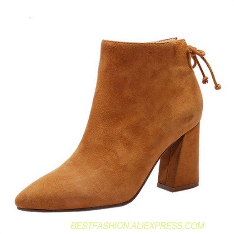 Dames Suede Hauts Chaussures Et Femmes Marche Travers Show Bottines De À as Mode Pointu Arc Talons Martin As Show Chic Bottes IEH29DW
