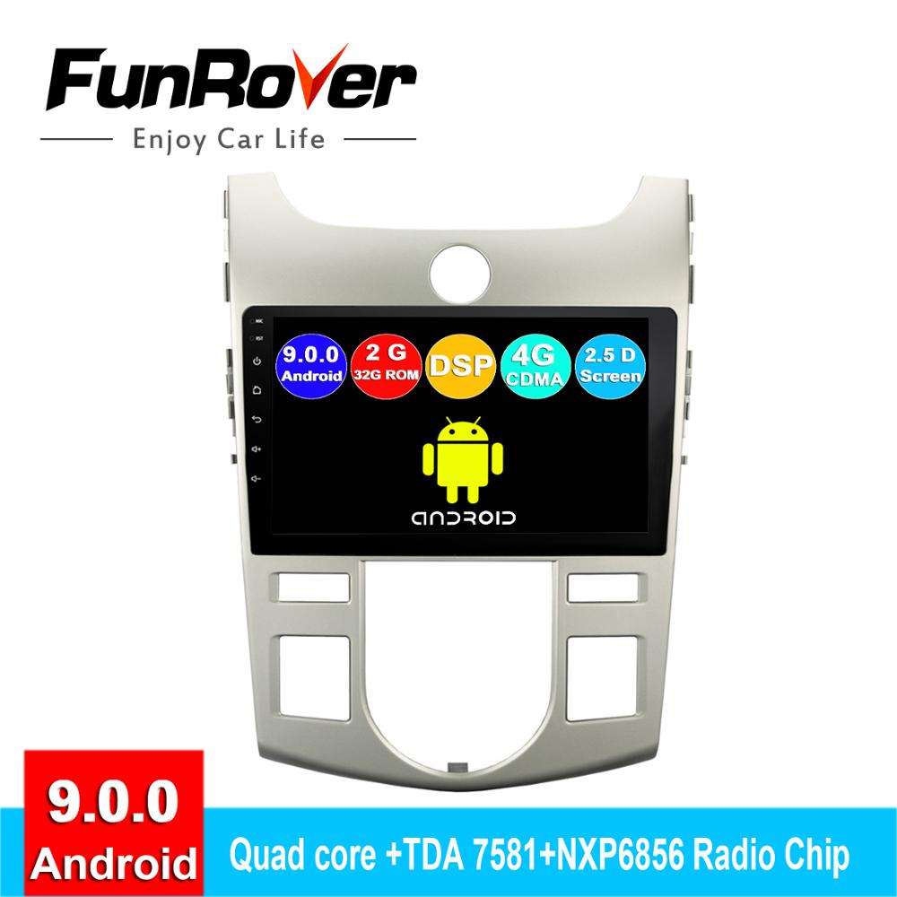 FUNROVER android 9.0 2 din car dvd For Kia Forte Cerato 2 2008 2009 2010 2011 2012 radio gps navigation stereo player 2.5D DSP