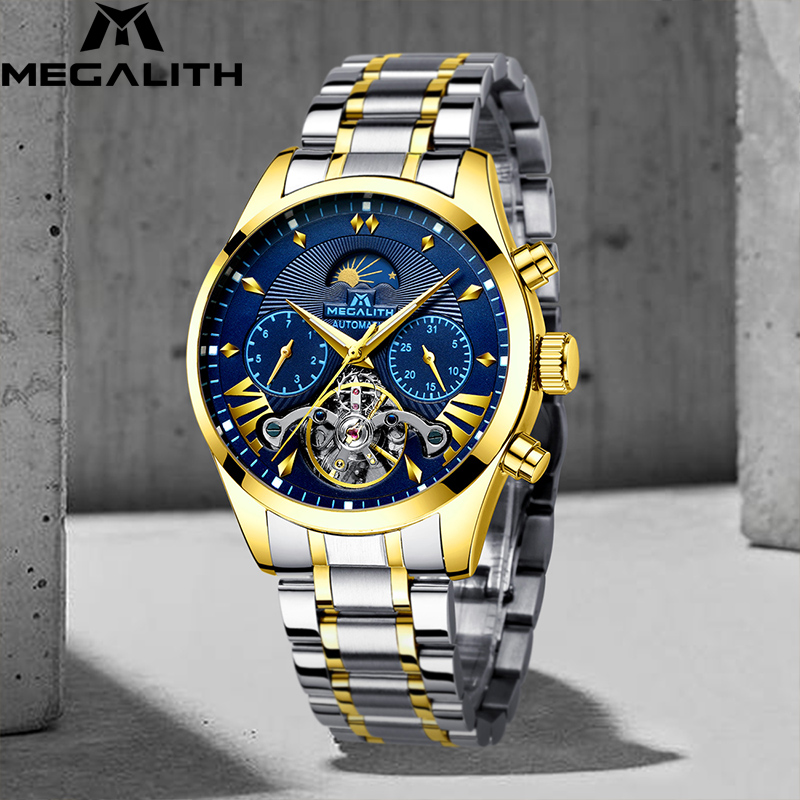 MEGALITH Top Brand Luxury Mens Watches Sport Automatic Mechanical Mililtary Watch Waterproof Steel Men watches Relogio MecanicoMEGALITH Top Brand Luxury Mens Watches Sport Automatic Mechanical Mililtary Watch Waterproof Steel Men watches Relogio Mecanico