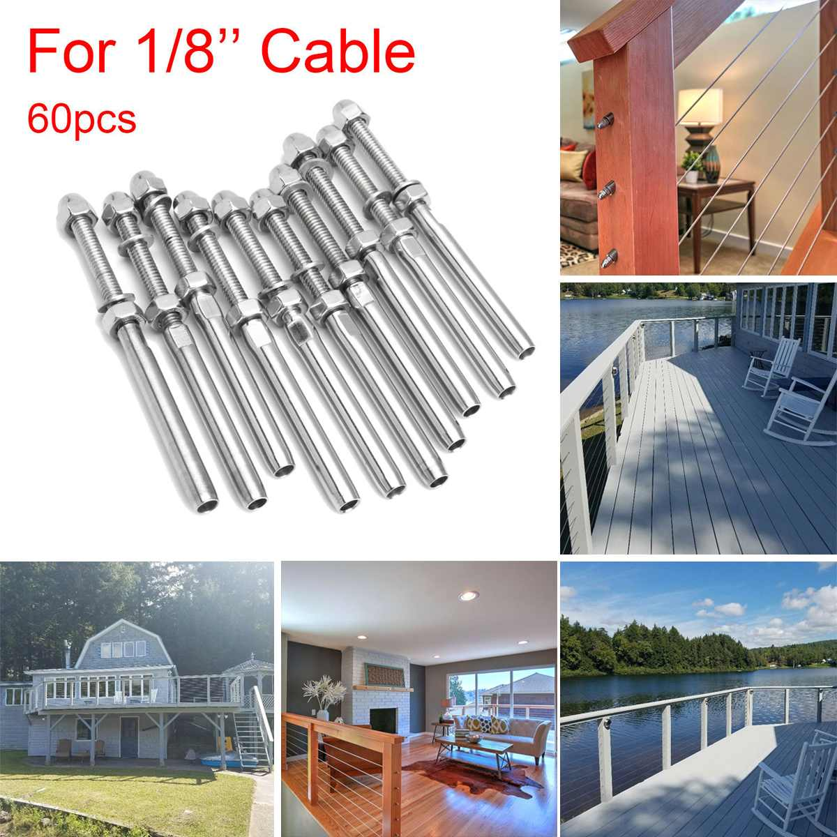 10Pcs/Set Stainless Steel Handrail Railing Cable Tensioner Threaded Stud End Fitting For 1/8 Inch Cable Wire Systems Parts Kit
