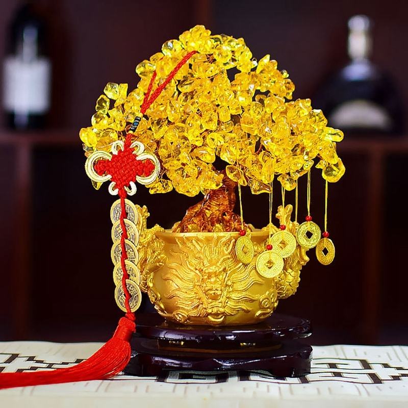 Chinese Golden Crystal Lucky Money Fortune Tree LUCKY Fortune Wealth Home Office Decoration Ornament Figurines Best GiftsChinese Golden Crystal Lucky Money Fortune Tree LUCKY Fortune Wealth Home Office Decoration Ornament Figurines Best Gifts