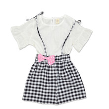 4-8 Years Fashion Summer Baby Girls 2PCS Toddler Kids Girls Bowknot Outfit Clothes Short Sleeve T-shirt+Plaid Skirt Set 2017 new fashion toddler kids girl clothes set summer short sleeve mini boss t shirt tops leather skirt outfit child 2pcs suit