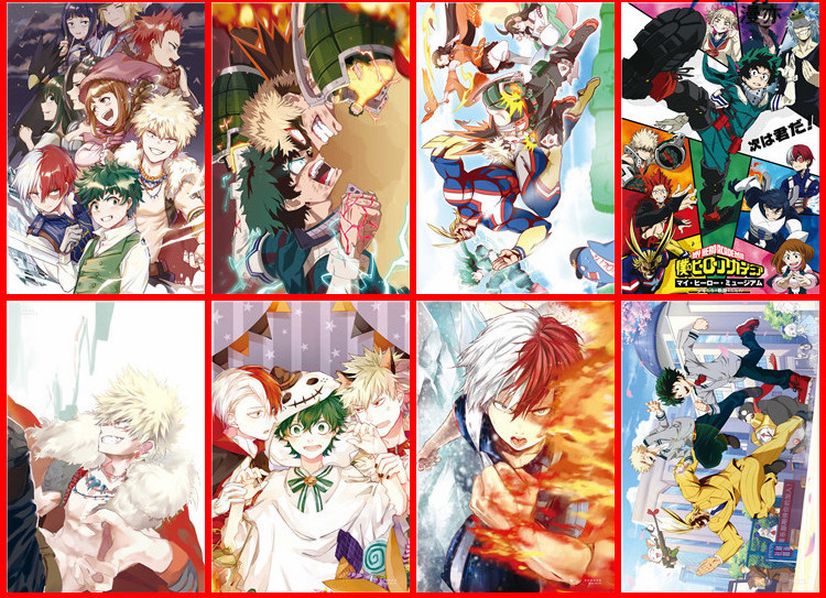 Mixed 400 pcs/lot Anime My Hero Academia One Piece Fairy Tail Tokyo Ghoul Naruto Noragami No game no life Poster Set 42X29CM image