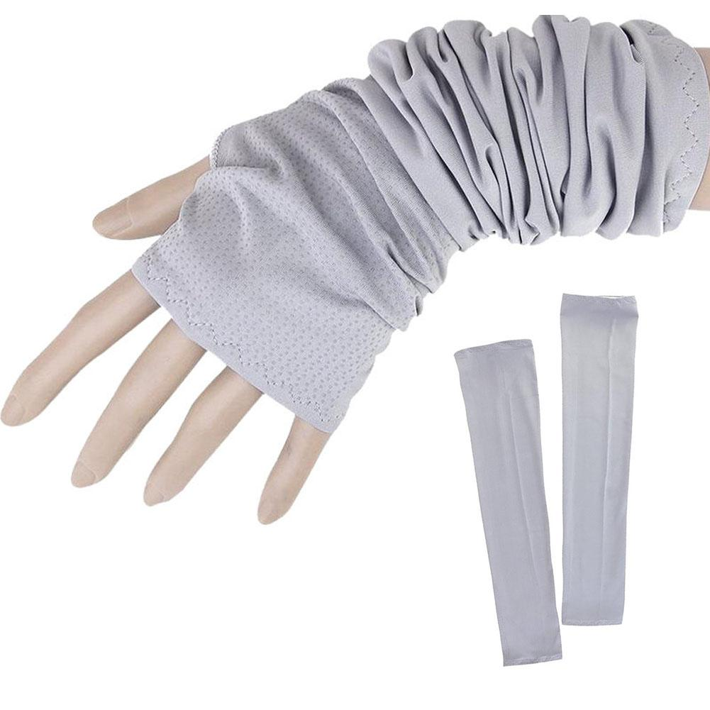 Fashion Summer Mitten Long Sunscreen Gloves Unisex Electric Bicycle Arm Sleeve Anti-UV Semi-Finger Breathable Gloves Grey
