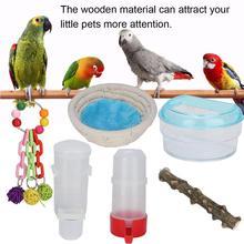 6 шт./компл. натурального дерева Укус игрушка аксессуары для птичьей клетки подвесные игрушки для небольших Conures птица декоративная птичья клетка