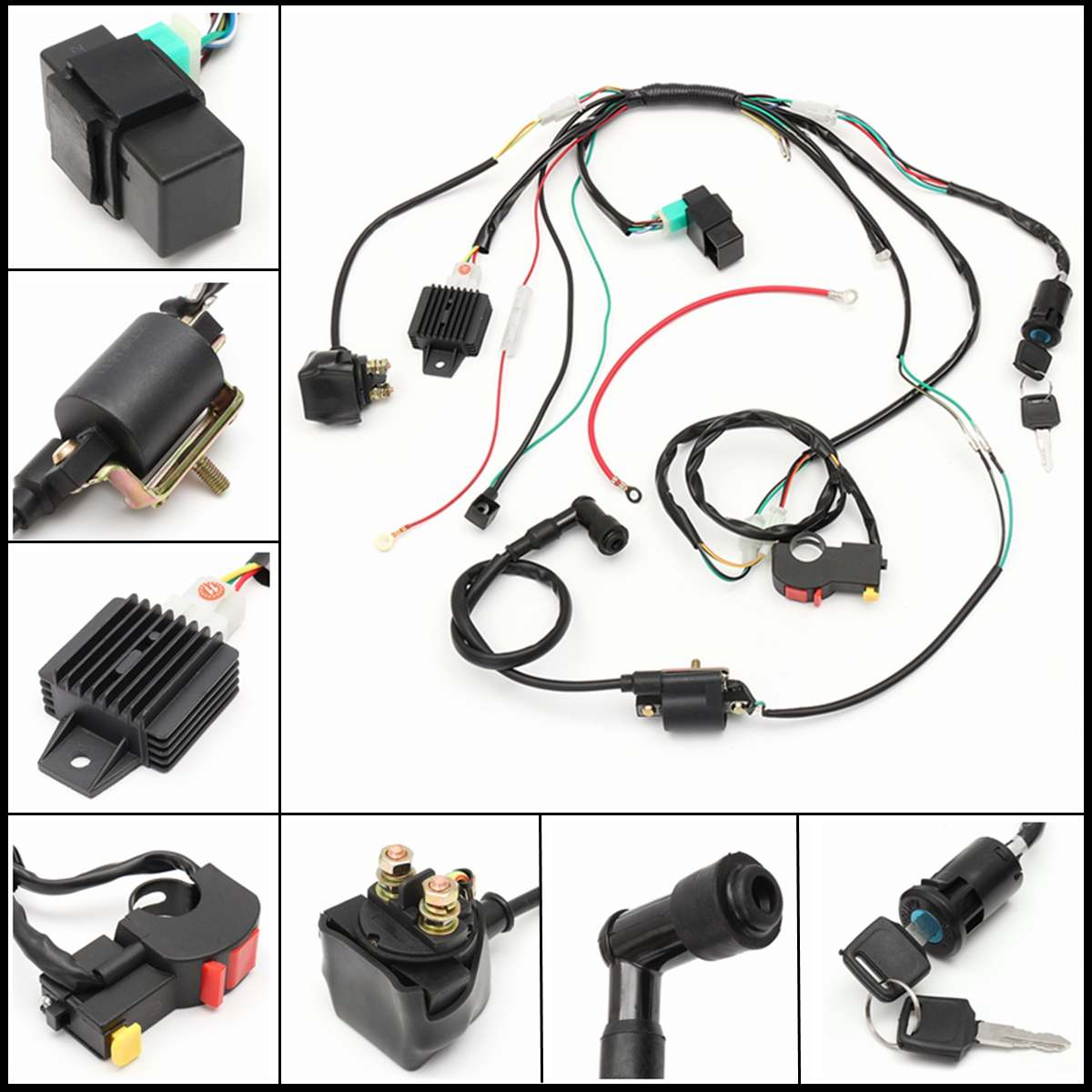 motorcycle cdi wiring harness loom solenoid ignition coil rectifier for  50cc 110cc 125cc pit quad dirt