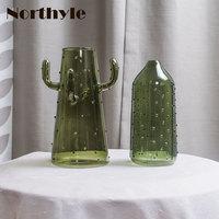 Cactus theme glass vase for home decoration tabletop vase wedding vase decor flower glass bottle christmas decoration gift