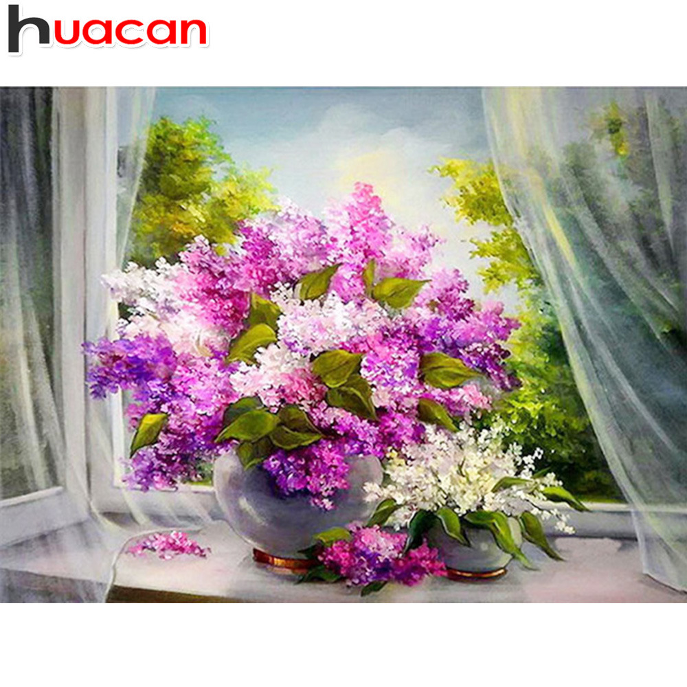 huacan 5D Diamond Painting Flowers Diamond Embroidery