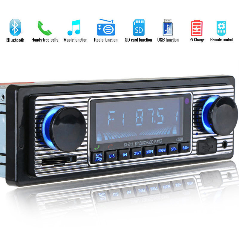 FFYY-Bluetooth Vintage Car Radio MP3 Player Stereo USB AUX Classic Car Stereo Audio