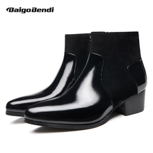 купить New Recommand !! Patent Leather High Heels Boots Man Pointed Toe Winter Ankle Boots Men Wedding Heighten Shoes Hight End по цене 5274.57 рублей