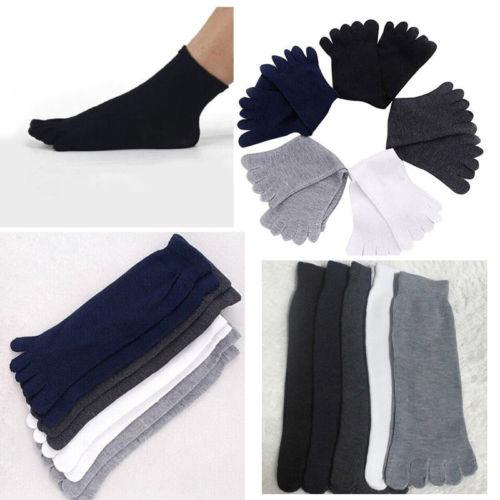 1 Pair New Five Finger Pure Cotton Sock Autumn Winter Warm Unisx Style Men Women 6 Colors Accessories Men's Socks