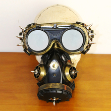 Vintage Black Cyber Respirator 2 Canisters 1 Valve Rave Steam Punk Cos play Industrial Masks Cosplay Prop DIY Accessory