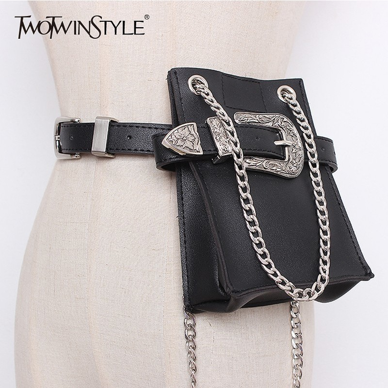 TWOTWINSTYLE PU Leather Belt Female With Detachable Small Match Pocket Print Belts For Women 2020 Accessories Fashion Tide