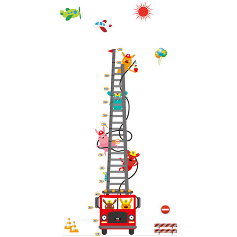 170cm Fire-engine Ladder Height Stickers Cartoon Animal Fireman 3d Vinyl Wall Decals Kids Room Baby Growth Chart Mural 60*90cm Delaying Senility