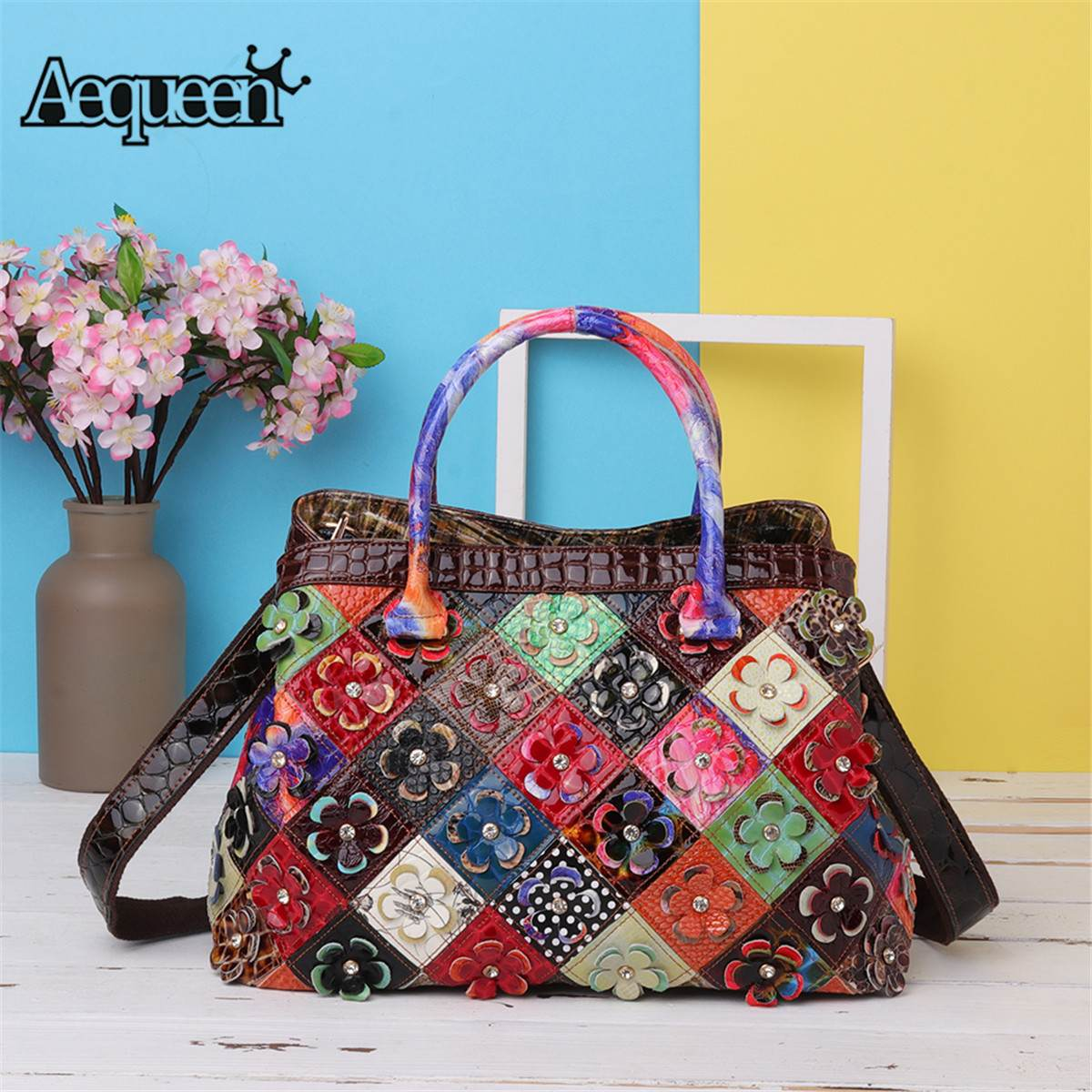 AEQUEEN 2018 Patchwork Genuine Leather Handbags Women luxury Shoulder Bags Ladies Flower Totes Crossbody Bags Bolso Random Color