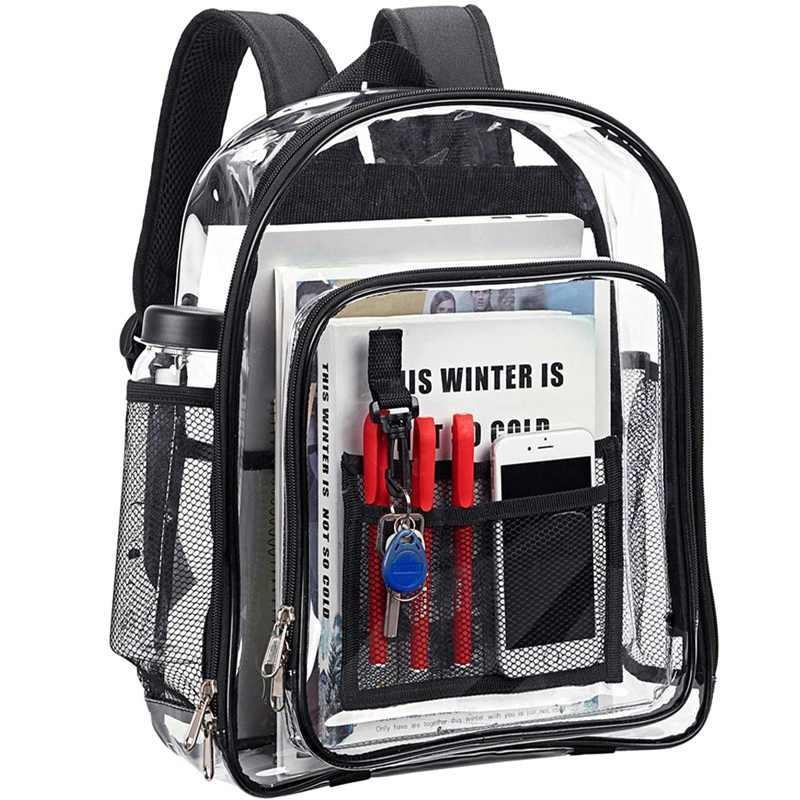 Сверхмощный прозрачный рюкзак, прозрачность безопасности Школьный рюкзак, см. Через книжный мешок для работы, проверки безопасности и путешествий