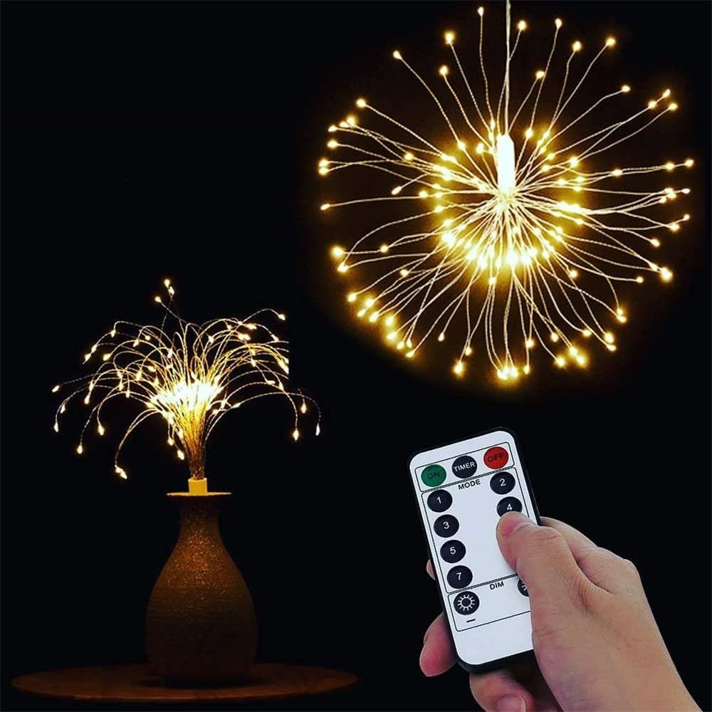 Remote Control Led Firework Lights Copper Wire Strip Battery Operated IP65 Waterproof Indoor Outdoor Holiday Lighting Decoration