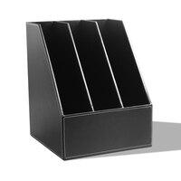 Three row file bar 3 Slot PU Leather Desk File Holder Paper Tray Document Holder Cubbyhole Pigeonhole Organizer Rack