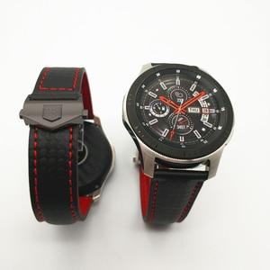 Image 2 - حزام (استيك) ساعة لسامسونج غالاكسي ووتش 46/42 مللي متر الكربون الألياف جلد طبيعي حزام ل والعتاد S3 هواوي GT ووتش 2 Amazfit 2 مربط الساعة