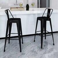 VidaXL черный стальной стул набор барных стульев квадратные барные стулья мебель из металлического стержня Современный домашний декор 2 шт.