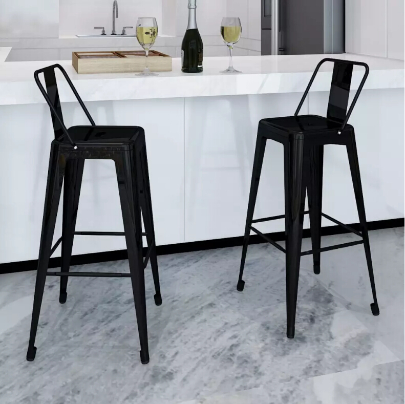 VidaXL Black Steel Chair Bar Stool Set Square Bar Stools Metal Bar Furniture Modern Home Decor  2-Piece