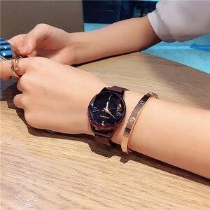 Image 3 - Üst Marka Saatler Kadınlar Için Gül Altın Örgü Mıknatıs Toka Yıldızlı Quartz saat Geometrik Yüzey Rahat Kadınlar için Kuvars Kol Saati