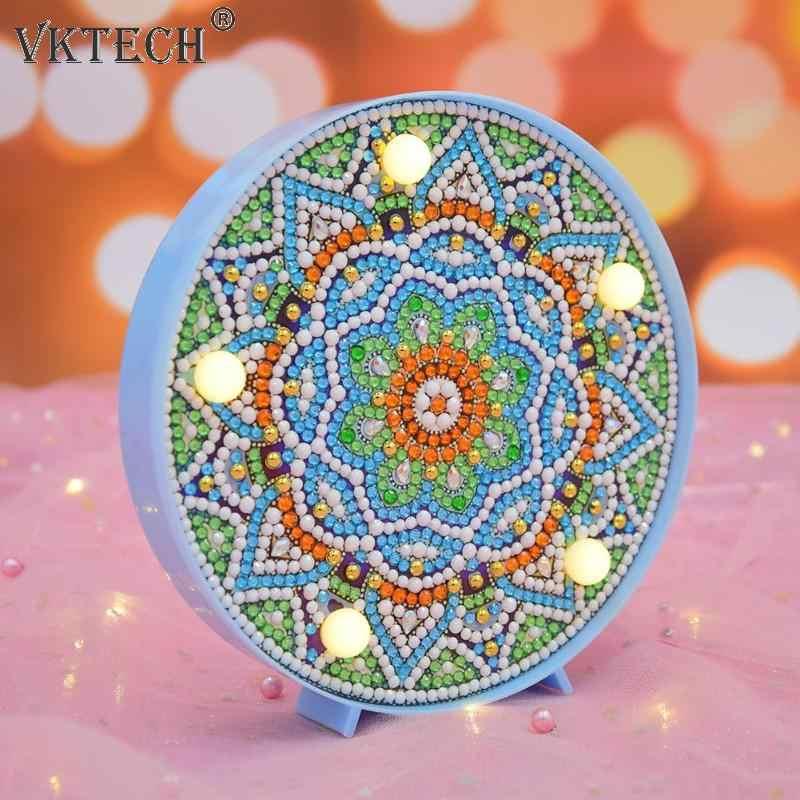 DIY Mandala LED Lukisan Berlian Kotak Cahaya Bordir Lampu Penuh Bor Khusus Lampu LED Rhinestones Dekorasi Rumah