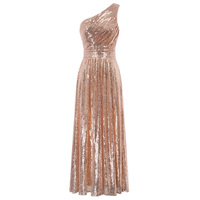rose gold dress for Women luxury celebrity Stunning Sequined One Shoulder formal long business Evening Party Dresses vestido