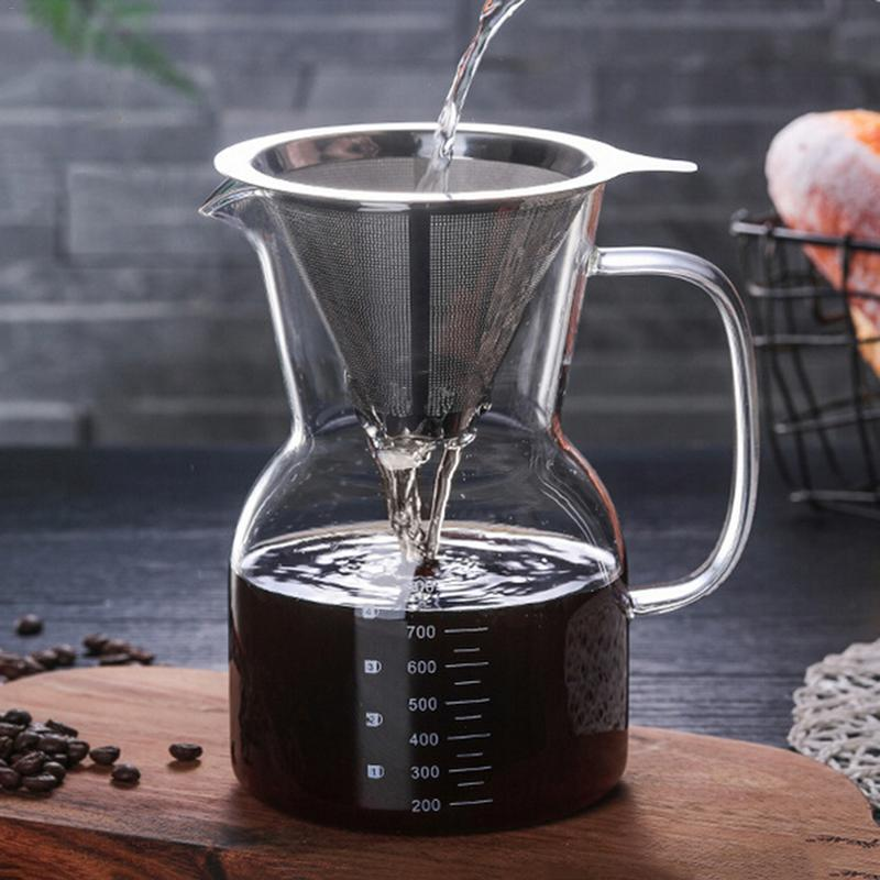 Glass Coffee Kettle With Stainless Steel Filter Drip Brewing Chemex Hot Brewer Coffee Pot Dripper Barista Pour Over Coffee MakerGlass Coffee Kettle With Stainless Steel Filter Drip Brewing Chemex Hot Brewer Coffee Pot Dripper Barista Pour Over Coffee Maker