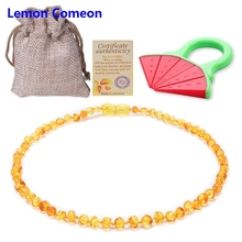 Lemon Comeon 2PC Baltic Natural Amber Baby Teether Necklace Infant Teething Pendant Beads To Send Certificate