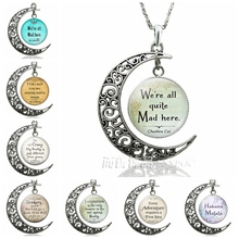 We're All Quite Mad Here  Cat Quote Crescent Moon Necklace Pendant   Jewelry Glass Dome Fashion Gift fashion accessories crescent moon pendant necklace glass dome planet moon silver chain necklaces jewelry birthday gift