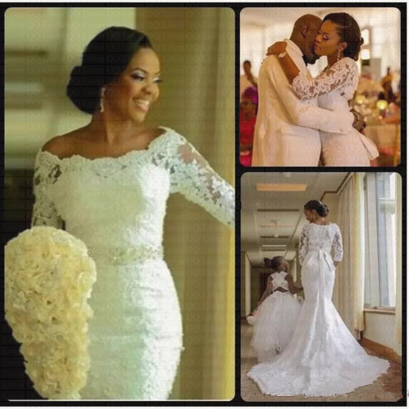 2019 New African 3/4 Sleeve Applique Lace Mermaid Wedding Dress Sashes Bridal Wedding Gowns