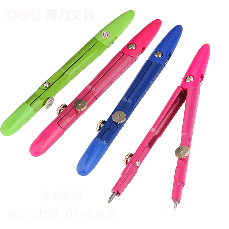 DELI 2pcs/lot 8607 student compasses metal compass with pencil lead core compas scolaire compasso escolar drafting drawing tools