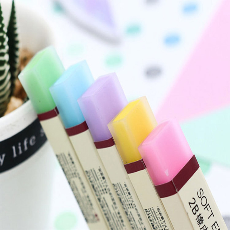 Cute Erasers Kawaii Candy Rainbow Colorful Rubber 2B Soft Erasers For School Kids Correction Tools School Supplies Stationery