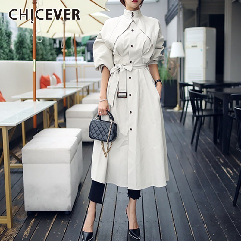 CHICEVER Autumn Winter Trench Coat For Women Stand Collar High Waist Lace Up Women's Windbreakers Korean Fashion Elegant Clothes