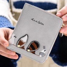 Wallet Female Short Paragraph Fashion Cute Little Squirrel Small Coin Purse