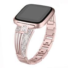 2019 New Fashion Match Bracelet For Fitbit Versa/Versa Lite Diamond Steel Strip Strap Rhinestone Stainless Watch