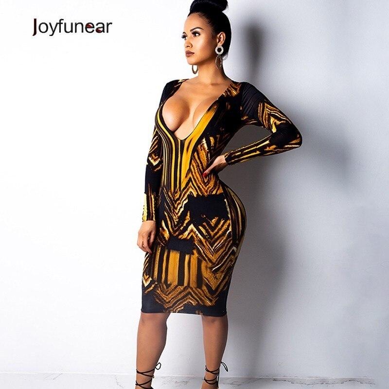 Joyfunear 2019 New Printed Deep V Neck Sexy Dresses Ladies Long Sleeve Bodycon Party Dresses Fashion Mini Women Dresses Vestidos