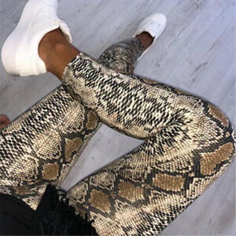 Women Snake Skin Print Pencil Pattern Pant Women Casual Slim PU Skinny Stretch Pencil Pantalons High Waist Elastic Female Pants