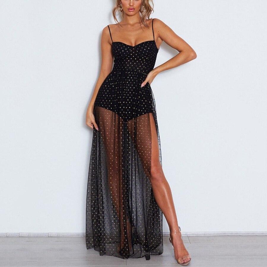 2019 Sexy femmes Spaghetti sangle pure maille robe longue Maxi robe Club robes de soirée dentelle fendu voir à travers la coupe robe XL Vestidos