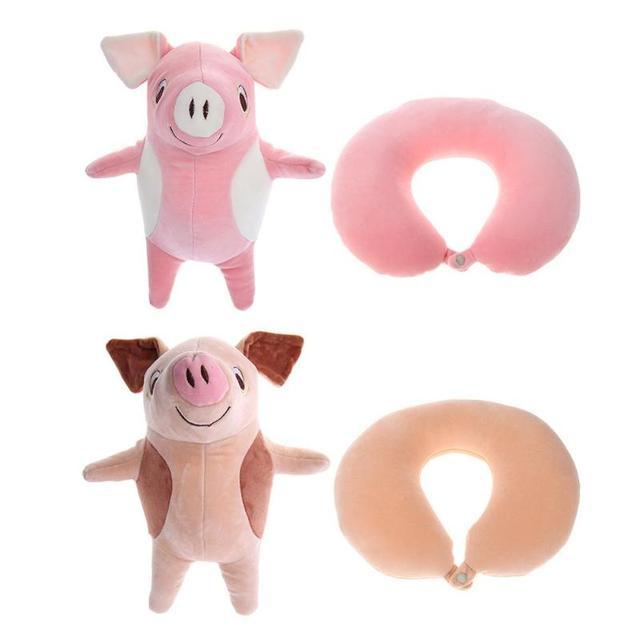 U-em forma de bonito Porco Dos Desenhos Animados Padrão de Proteção de Pescoço Massagem Partícula Travesseiro de Viagem Almofada Brinquedos de Pelúcia