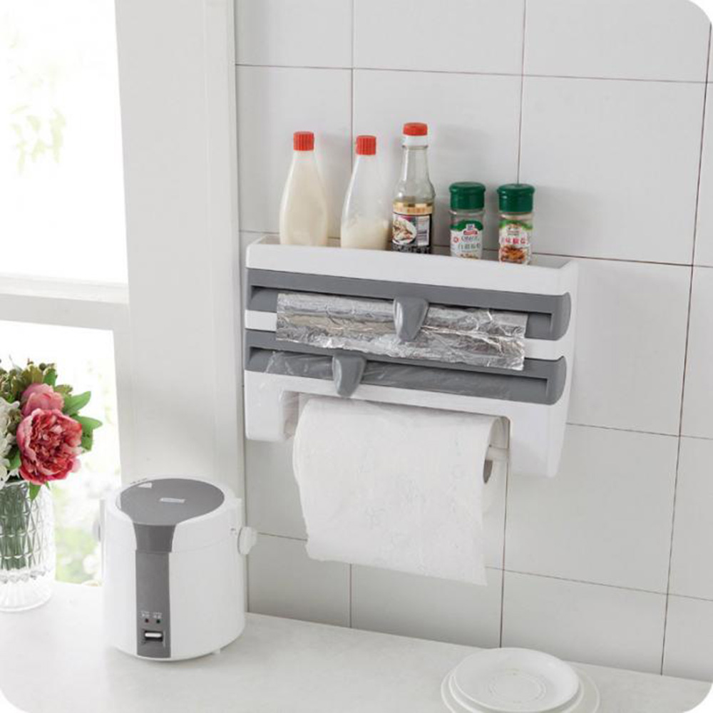 Cling Film Bottle Storage Rack Sauce Tin Foil Paper Towel Holder Shelf Kitchen Home Storage Organization