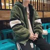 Winter Men's Fashion Parkas Lamb Thicken Trench Velvet Windbreaker Loose Snow Jacket Casual Warm Coats streetwear hoodies men