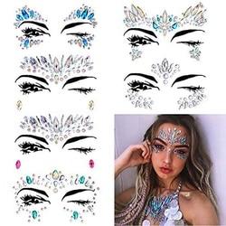 6 takım Kadınlar Mermaid Yüz Mücevher Glitter, Rhinestone Rave Festivali Yüz Mücevherleri, Kristal Yüz Çıkartmalar, gözler Yüz Vücut Geçici Ta