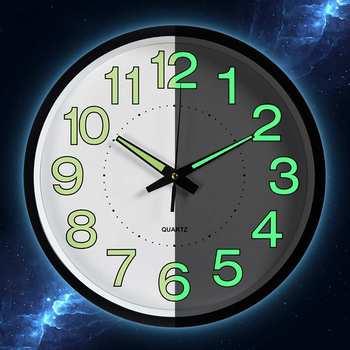 3490a58901eb 12 pulgadas luminoso silencio Relojes de pared para sala de estar  dormitorio diseño Simple de cuarzo Reloj de pared decoración para el hogar  sin batería
