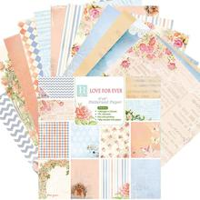 24PCS DIY Album Scrapbook Notebook Greeting Card Background Paper 6 Inch Single-Sided Pattern Hand Craft